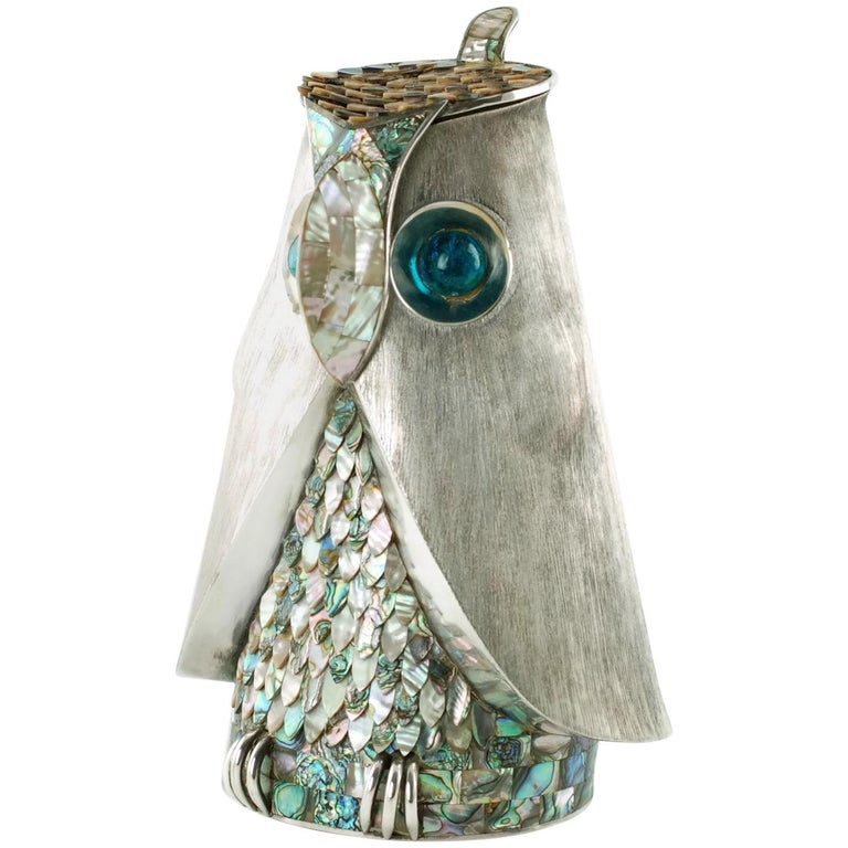 Los Castillo Silver Plate Figural Owl Pitcher with Abalone Inlay and Glass Eyes For Sale