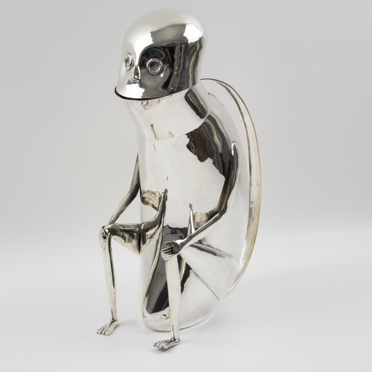 Los Castillo Silver Plate Metal Mexican Folk Art Monkey Pitcher For Sale 9