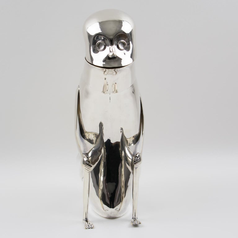 Los Castillo Silver Plate Metal Mexican Folk Art Monkey Pitcher In Excellent Condition For Sale In Atlanta, GA