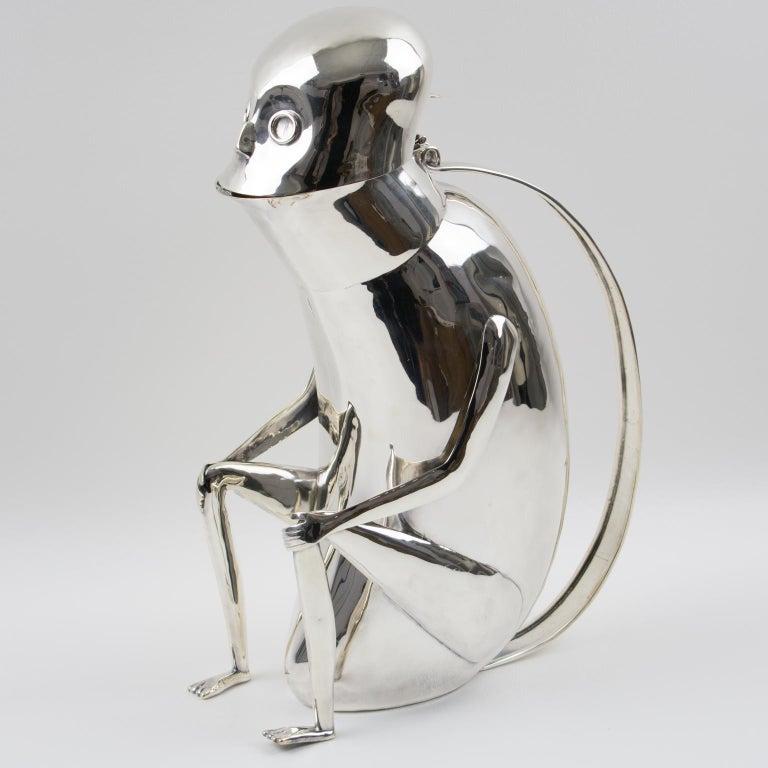 Los Castillo Silver Plate Mexican Folk Art Monkey Pitcher For Sale 7