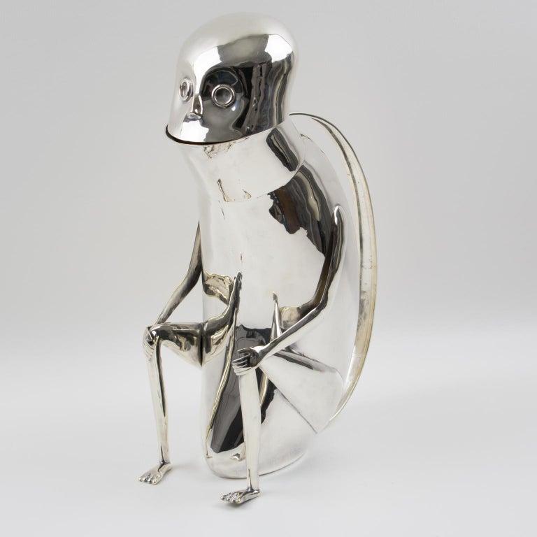 Los Castillo Silver Plate Mexican Folk Art Monkey Pitcher For Sale 8