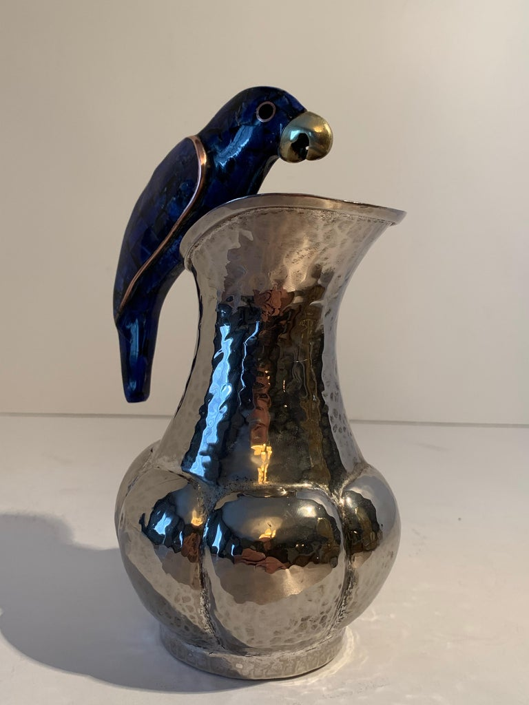 Mid-Century Modern Los Castillo Silver Plate Pitcher with Lapis Parrot Handle For Sale