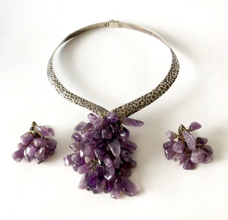 Los Castillo Sterling Silver Amethyst Mexican Modernist Necklace Earrings Set In Good Condition For Sale In Los Angeles, CA