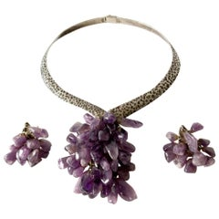 Los Castillo Sterling Silver Amethyst Mexican Modernist Necklace Earrings Set