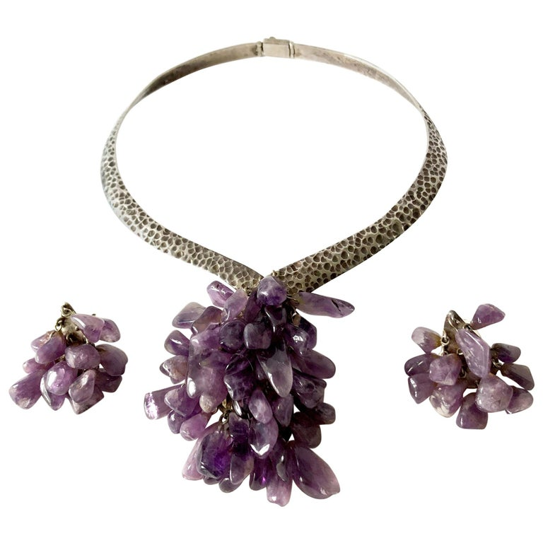 Los Castillo Sterling Silver Amethyst Mexican Modernist Necklace Earrings Set For Sale