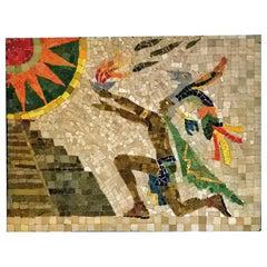 Los Castillo Studio Mosaic Mayan Priest Chichen Itza, Mexico, 1950s