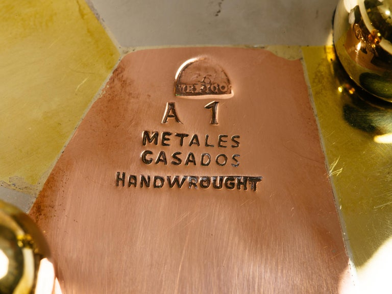Metalwork Los Castillo Taxco Mexico Silver Copper and Brass Circular Tray For Sale