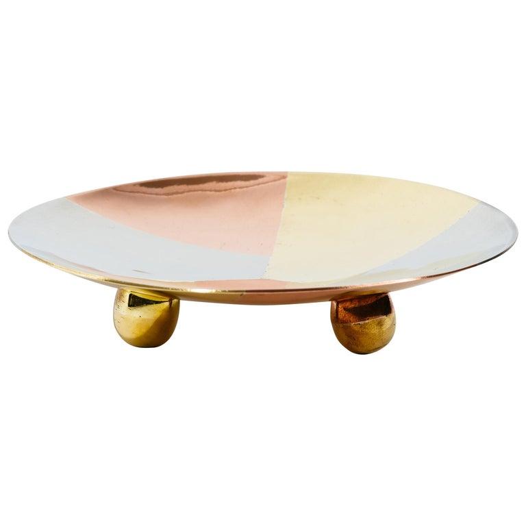 Los Castillo Taxco Mexico Silver Copper and Brass Circular Tray For Sale