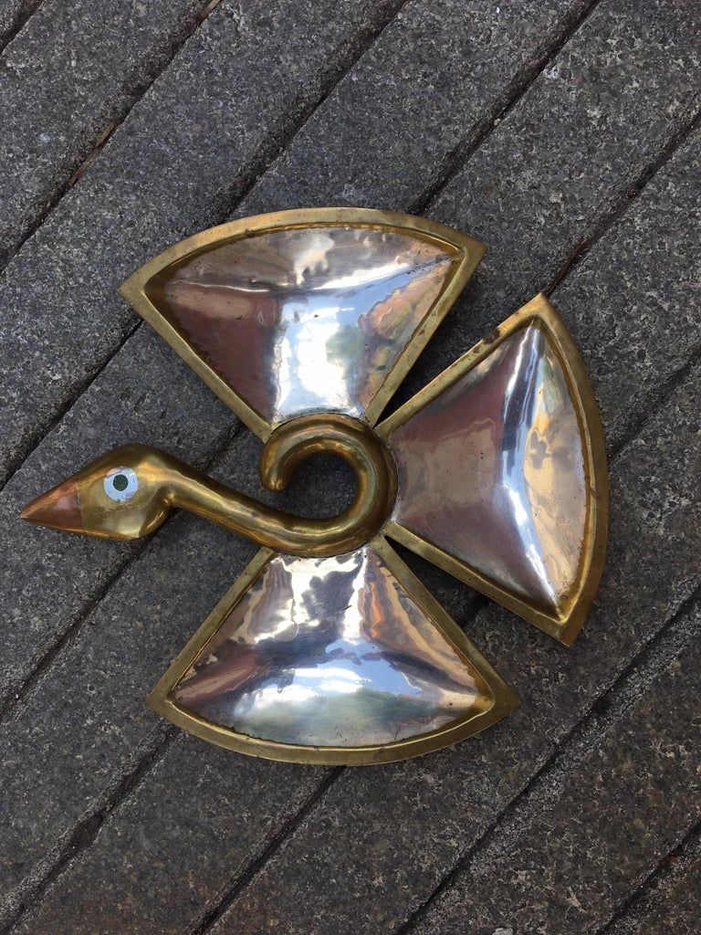 Multi metals Los Castillo bird with a polished stone eye. Signed on back of head.