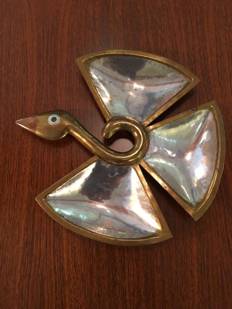 Silver Los Castillo Taxco Mix Metal Bird For Sale