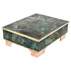 Los Castillo Taxco Style Malachite Sodalite Box Inlaid Rosewood Interior Box