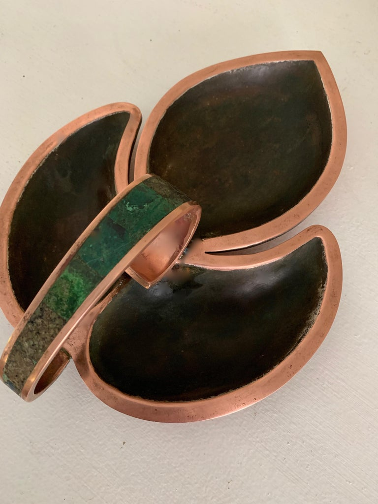 Mid-Century Modern Los Castillo Three Section Copper and Malachite Handle Dish For Sale