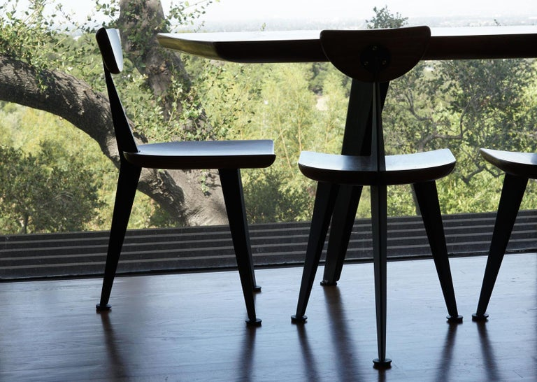 Los Gatos Three Leg Modern Dining Chair with Sculpted Seat/Back and Steel Legs For Sale 2