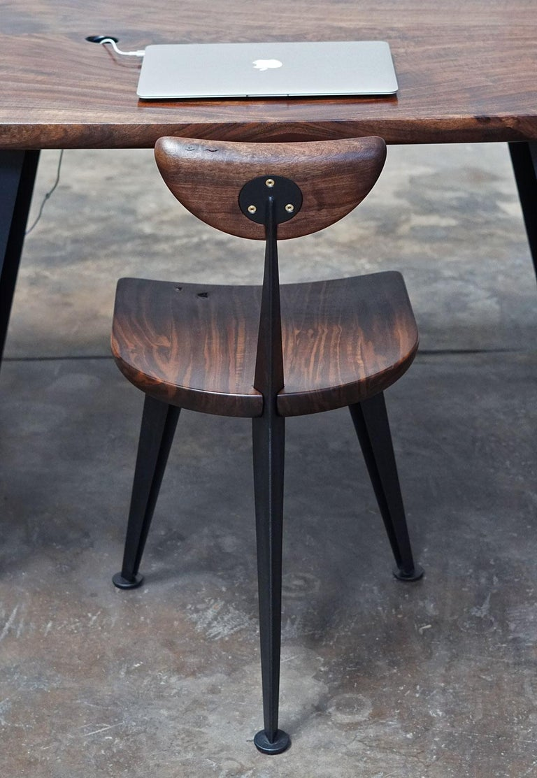 Los Gatos Three Leg Modern Dining Chair with Sculpted Seat/Back and Steel Legs For Sale 3