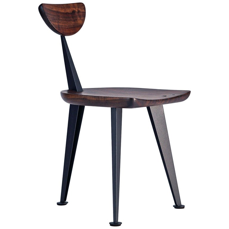 Los Gatos Three Leg Modern Dining Chair with Sculpted Seat/Back and Steel Legs For Sale