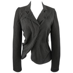 LOST & FOUND Size S Charcoal & Black Ruched Body Jacket