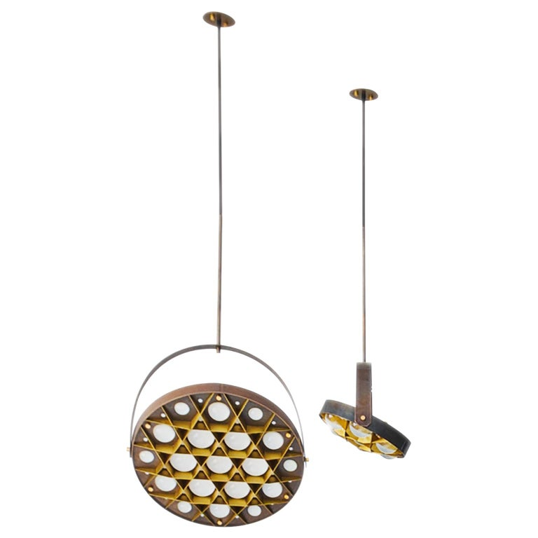 Special edition pendant lamps set Surgeon, bronzed brass finish.