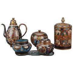 Meiji Japan Japanese Cloisonne Lot Bronze or Copper China Tea Set