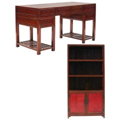 Lot Fine Jumu Wood 3 Part Doctor's Desk and Mid-19th Century Chinese Bookcase