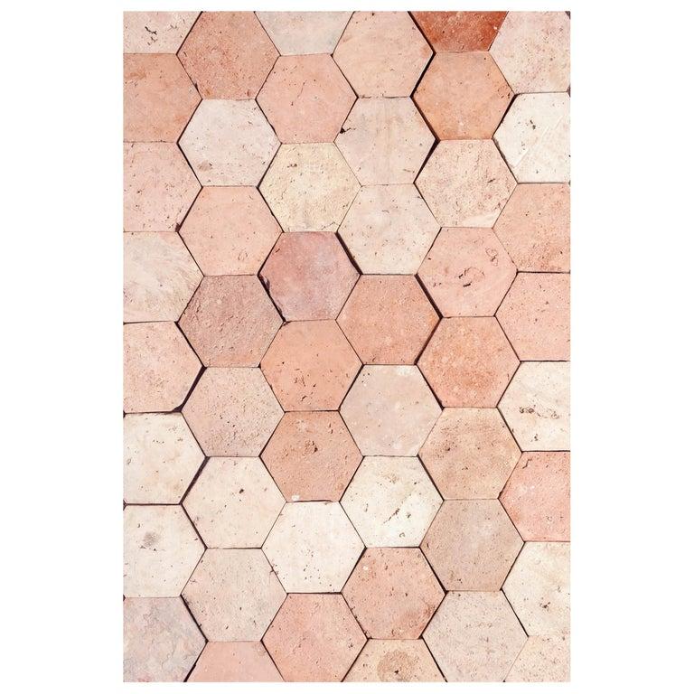 18th Century Reclaimed Terracotta Hexagon Flooring For Sale
