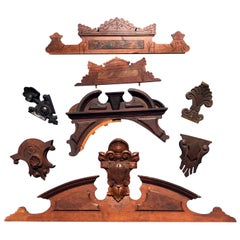 Lot Of 23 Victorian Architectural Elements In Wood, Including 2 Mirror Frames