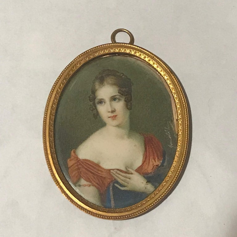 20th Century Lot of 3 Diminutive Portrait Paintings 'A' For Sale