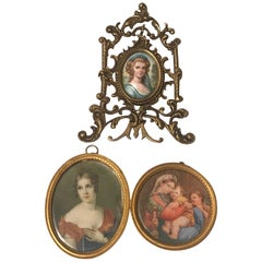 Lot of 3 Diminutive Portrait Paintings 'A'