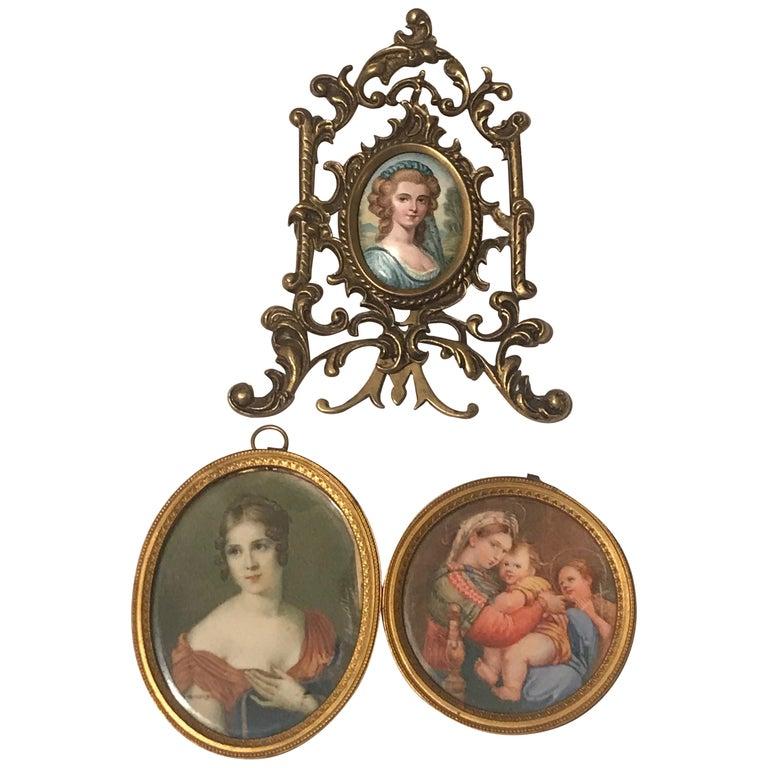 Lot of 3 Diminutive Portrait Paintings 'A' For Sale