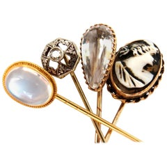Lot Of (4) 14KT Antique Hat Pins Collector Classic Cameo, Moonstone, Edwardian