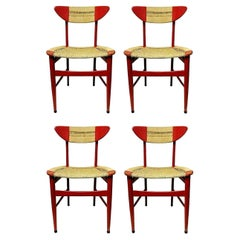 Lot of 4 Collection Chairs Design Hans Wegner in Wood and Rope, 1950s