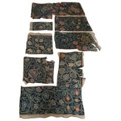 Lot of '7' Flemish Antique Floral Tapestry Fragments