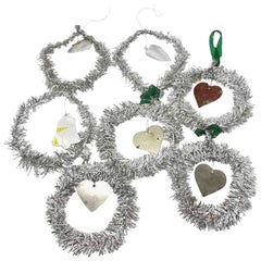 Lot of 7 Tinsel Christmas Ornaments Vintage, German