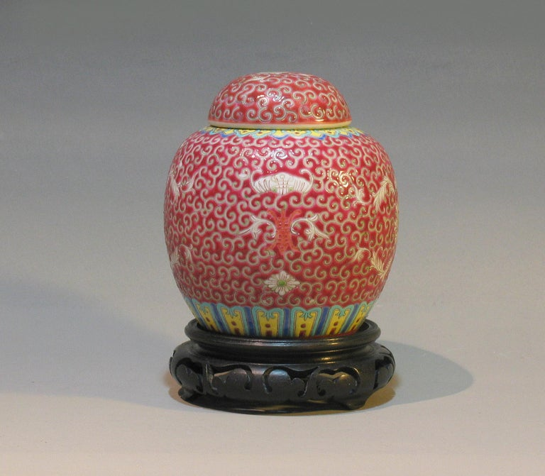 Porcelain Lot of Chinese Items, a Vase, Ginger Jar, Seal Box and Dehua Bottle 20th Century For Sale