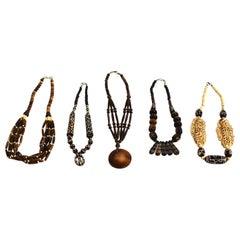 Lot of Five Tibetan Bone Necklaces