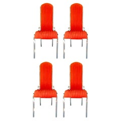 Lot of Four Chairs in Steel and Alcantara in the Style of Romeo Rega, 1970s