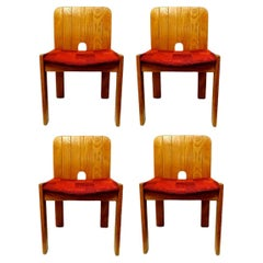 Lot of Four Wood Chairs in the Style of Zanotta, 1970s