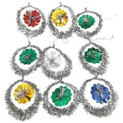Lot of Nine Tinsel Christmas Ornaments Vintage, German