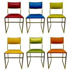 Lot of Six Collectible Coloured Chairs in Gold Metal, 1970s