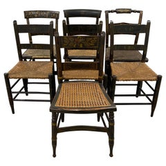 Lot of Six Mid-19th Century Mis-Matched American Hitchcock Side Chairs
