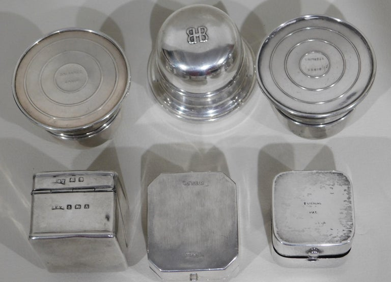 Lot of Six Sterling Silver Ring Boxes English Stamps Birks Canadian For Sale 6