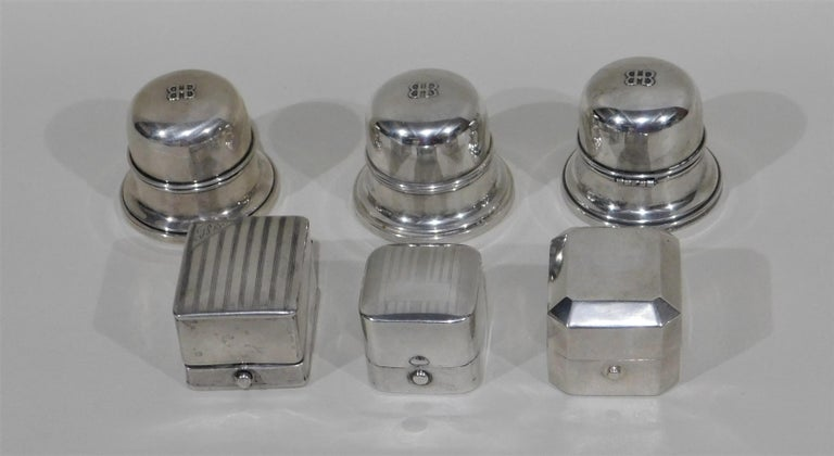 Lot of Six Sterling Silver Ring Boxes English Stamps Birks Canadian In Good Condition For Sale In Hamilton, Ontario