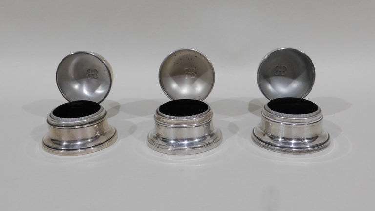 20th Century Lot of Six Sterling Silver Ring Boxes English Stamps Birks Canadian For Sale