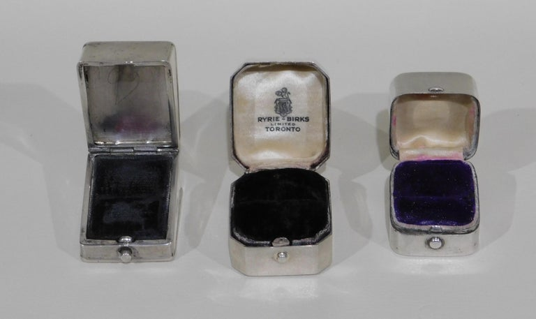 Lot of Six Sterling Silver Ring Boxes English Stamps Birks Canadian For Sale 1