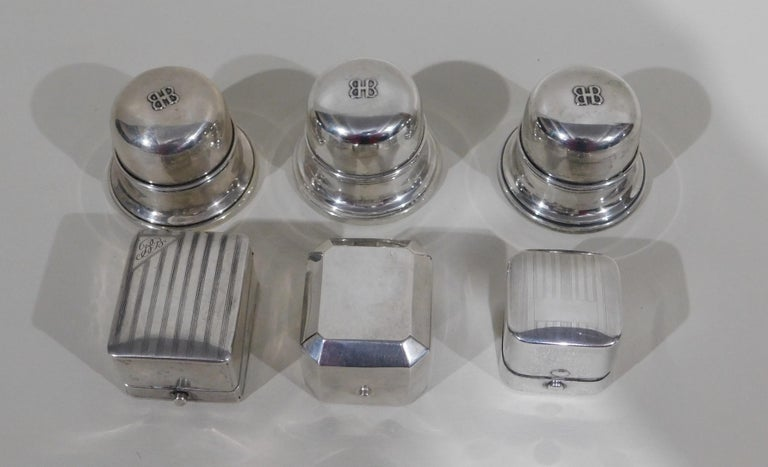 Lot of Six Sterling Silver Ring Boxes English Stamps Birks Canadian For Sale 3