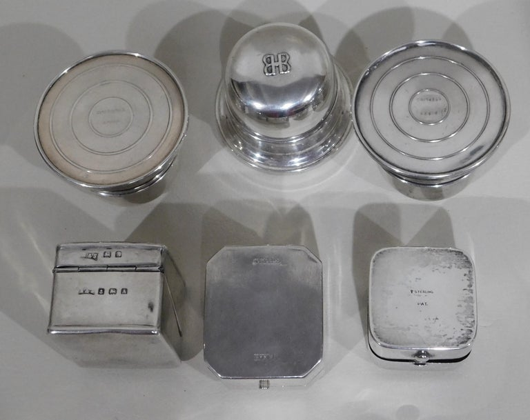 Lot of Six Sterling Silver Ring Boxes English Stamps Birks Canadian For Sale 4