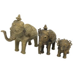 Lot of Three Asian Elephant Brass Sculpture Figures Vintage, 1950s