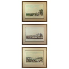 Lot of Three Framed Decorative Hand Colored Topographical Etchings