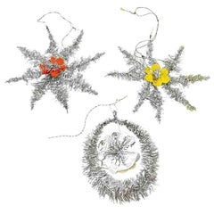 Lot of Three Tinsel Christmas Ornaments Vintage, German