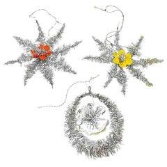 Lot of Three Tinsel Christmas Ornaments Vintage, German