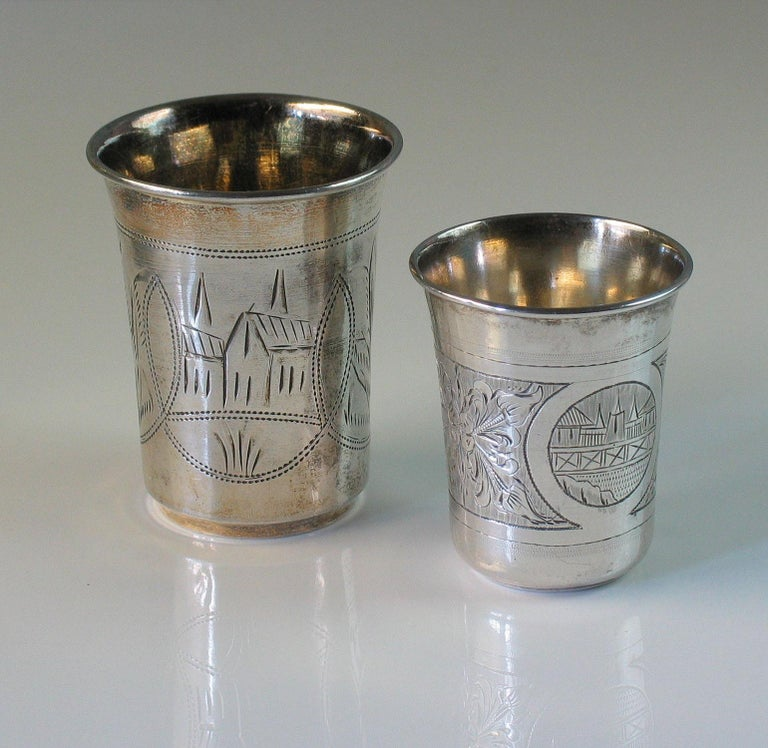 Victorian Lot of Two Imperial Russian Silver Vodka Cups For Sale